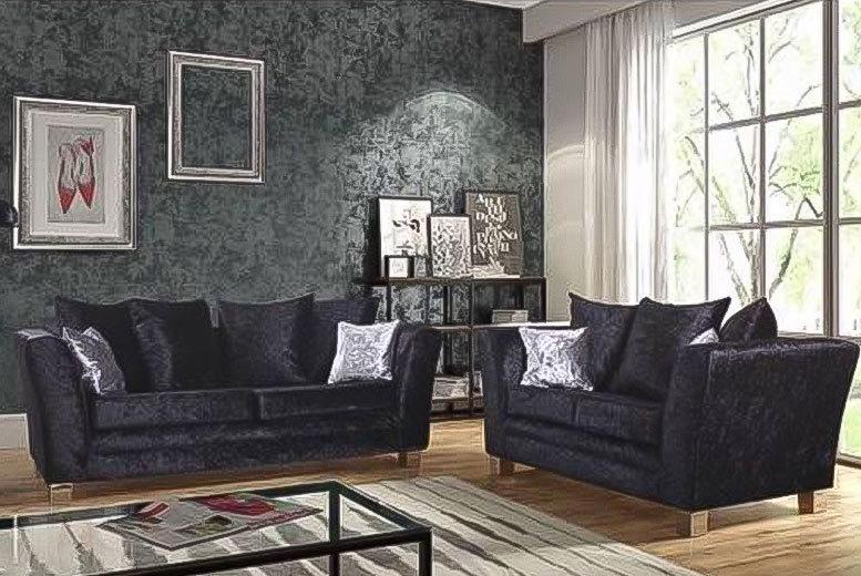 Vegas Crushed Velvet 2 & 3-Seater Sofa Set – 2 Colours! for £449.00