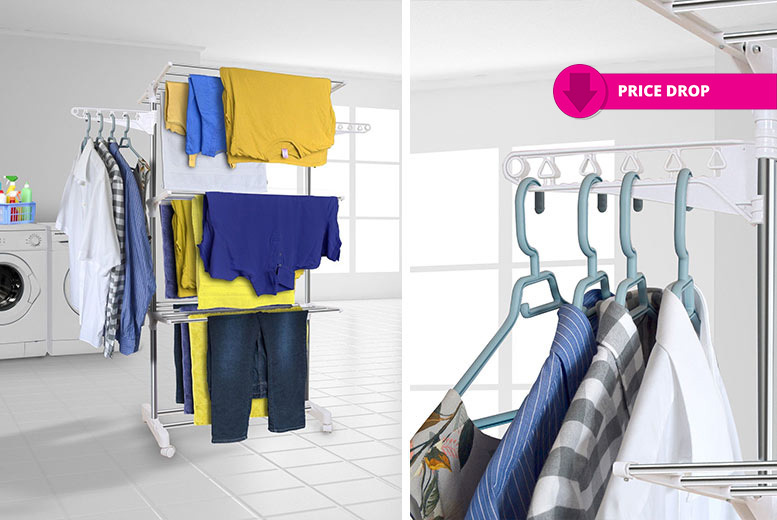 XL 3 Tier Stainless Steel Folding Clothes Airer for £24.99