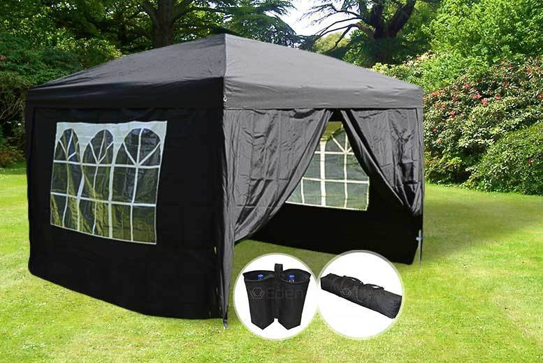 Heavy Duty 3mx3m Gazebo with Wind Bars, Weight Bags & Carry Case – 7 Colours! for £79.00