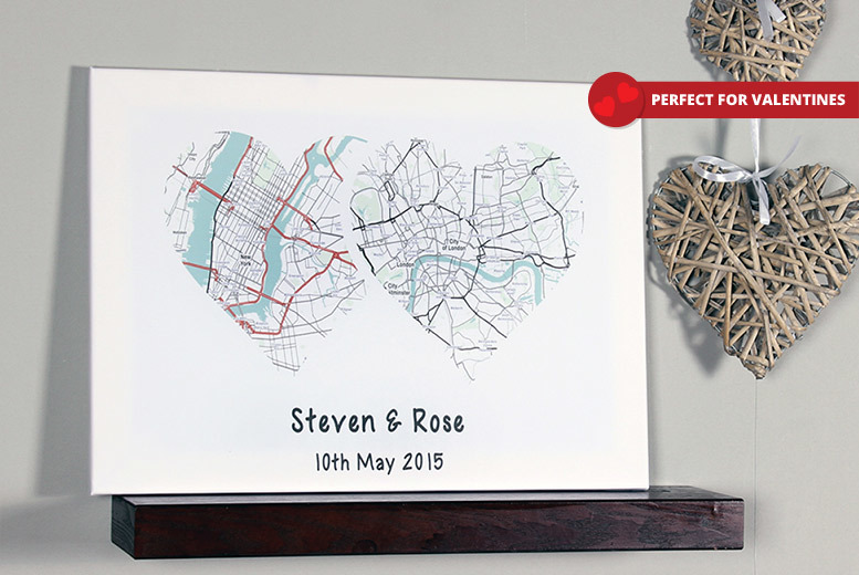 Personalised Couple's Heart Map Canvas - 3 Designs!