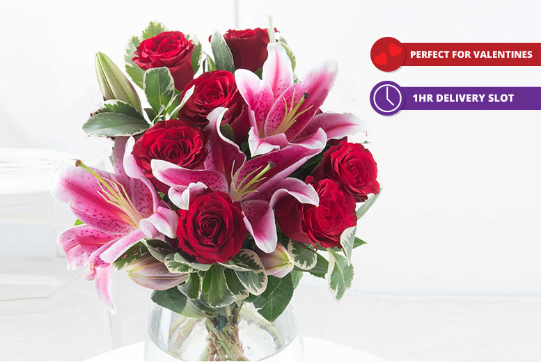 Valentine's Bouquet of Roses & Lilies for £19.99