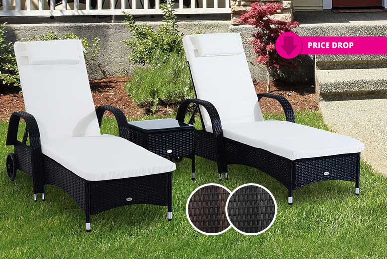3pc Rattan Sun Lounger & Table Set – 2 Colours! from £189.00