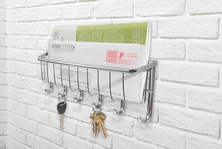 Chrome-Finish Mail Organiser & Key Rack for £6.99
