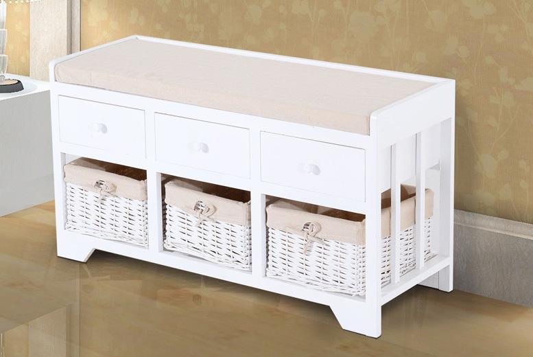 2 or 3-Drawer & Basket White Storage Bench from £49.00
