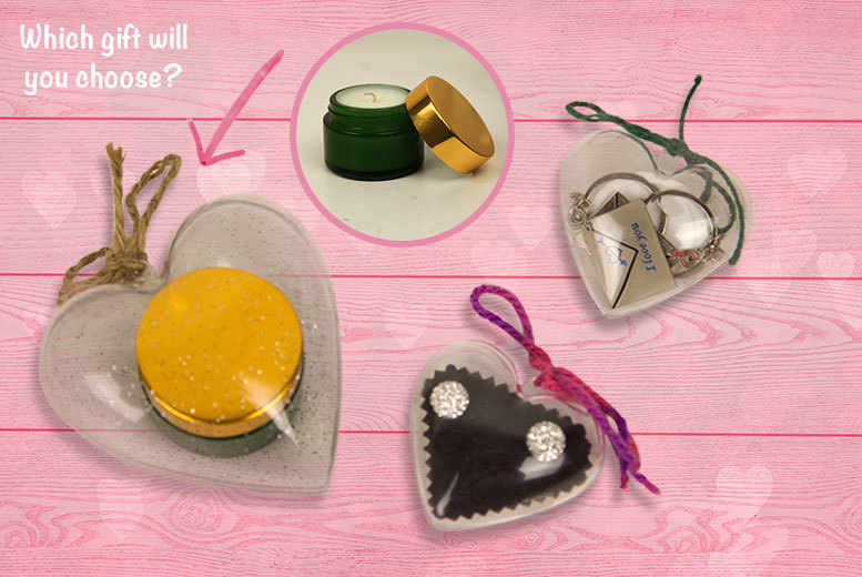 Heart-Shaped Valentines Gift Box – Candle, Key Chain or Earrings! from £6.99