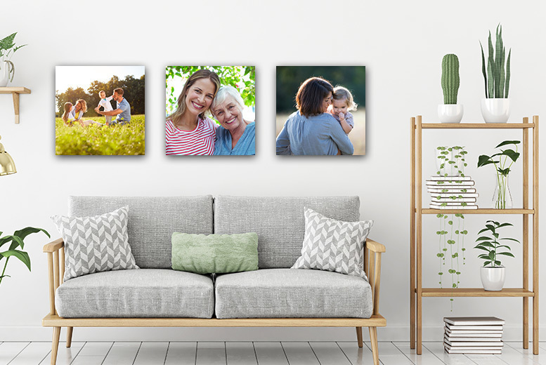 3 Personalised Canvases – 12″ x 12″! for £14.00