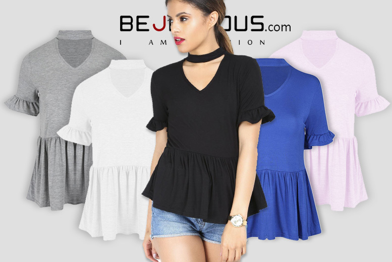 Choker Neck Ruffle Frill Top – 5 Colours! for £8.99