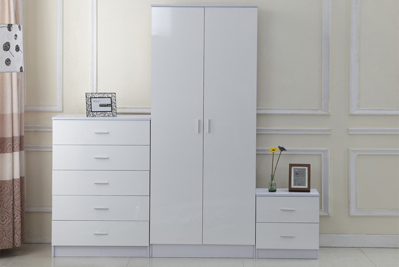 3pc High Gloss White Bedroom Furniture Set
