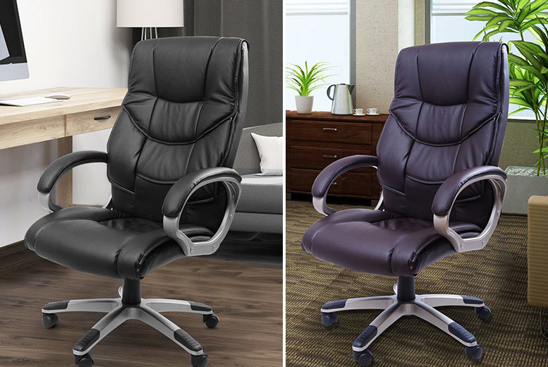 Executive High-Back Faux Leather Office Chair – 2 Colours! for £59.00