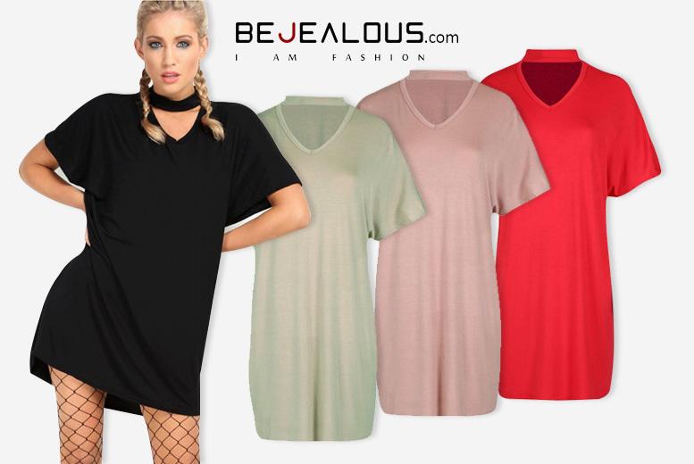 Oversized Choker Neck T-Shirt Dress – 4 Colours & Sizes 8-26! for £9.00