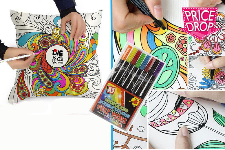 Graffiti Pillowcase with 8 Colouring Pens! for £8.99