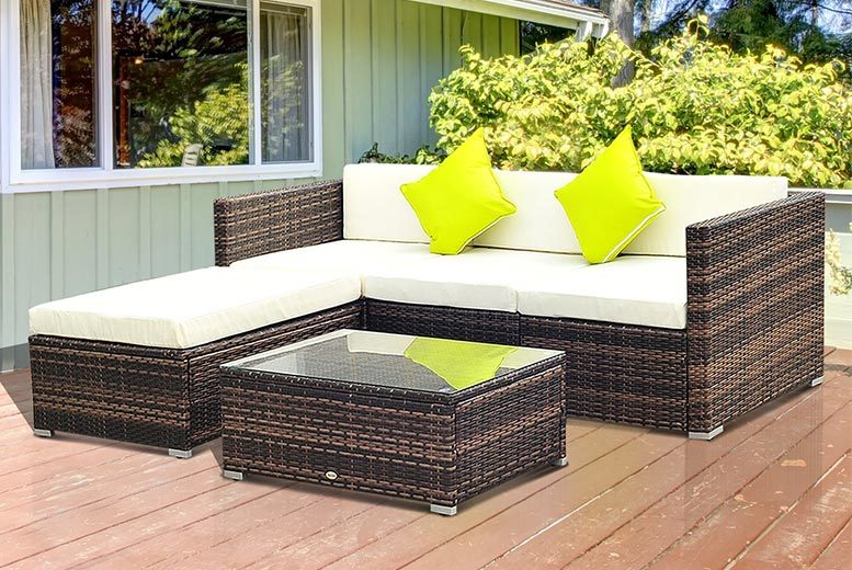 5pc Rattan Garden Furniture Set - 2 Colours!