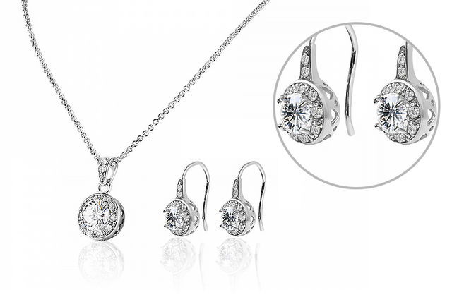 Solitaire pendant drop earrings made with crystals from swarovski mozeypictures Image collections