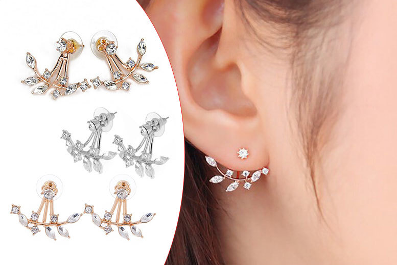 £5 instead of £39.99 for a pair of double crystal leaf earrings in gold, silver or rose gold colour or £12 for a set of three - save up to 87%