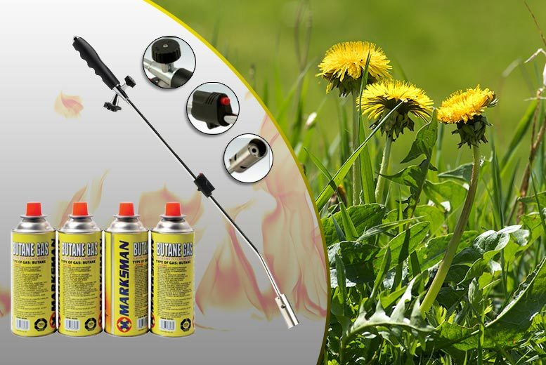 £18 instead of £116 for a weed burner with four gas canisters, £22 with eight gas canisters - save up to 84%