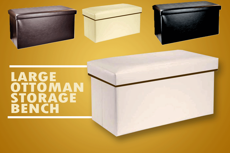 Large Ottoman Storage Leather Seat – 4 Colours! for £12.00