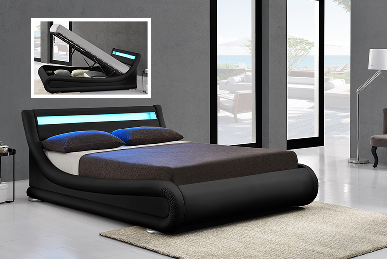 £249 (from Limitless Base) for a double Rio designer ottoman storage bed with LED lights, £269 for a king size - save up to 63%