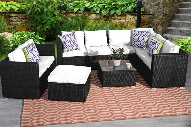 9 seater rattan corner garden furniture set 3 colours for Best deals on patio furniture sets