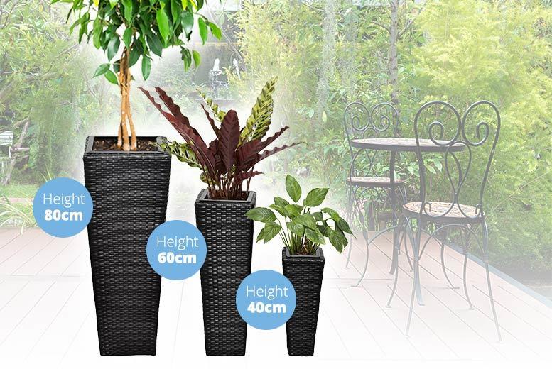 3 Rattan Flower Planters - 2 Colours!
