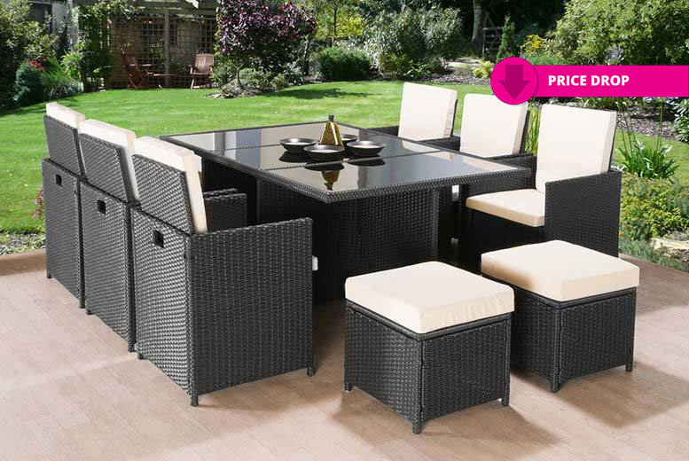 11pc Rattan Cube Dining Set - 2 Colours!