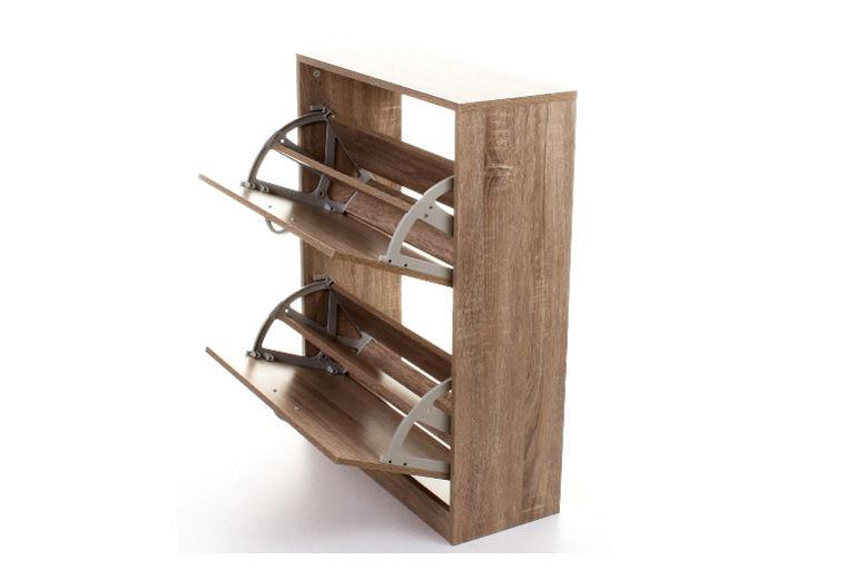 2-Drawer Oak Effect Shoe Storage Cabinet