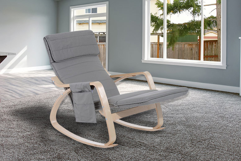 Grey Rocking Chair with Adjustable Footrest & Side Pocket