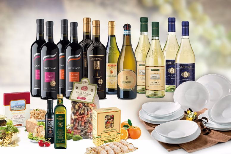 £59 (from Giordano Wines) for an Italian hamper including 12 bottles of wine and a 12-piece dinner set + FREE DELIVERY!