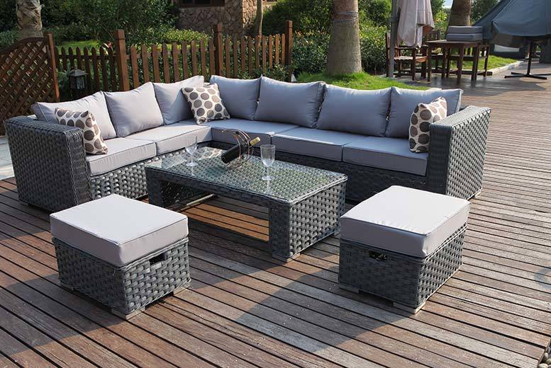 £499 instead of £999.99 for an eight-seater L-shaped rattan furniture set - save 50%