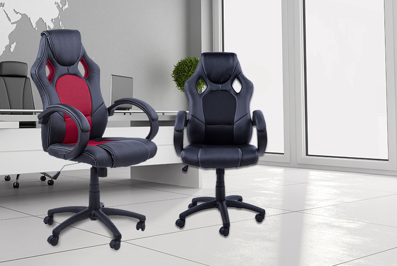 £59 instead of £123 for a faux leather office chair - choose black or red and save 52%