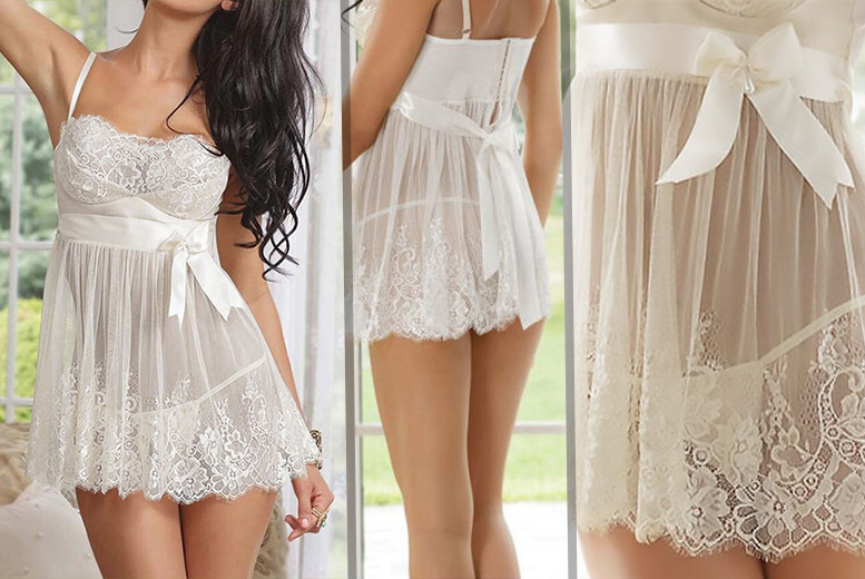 £6 instead of £24.99 for a white lace babydoll and G-string set - look out of this world and save 76%