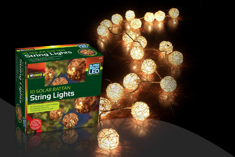 10 solar rattan string lights
