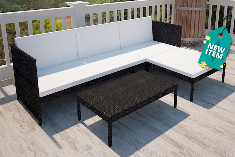Outdoor Rattan 3-Seater Lounge Set - 2 Colours!