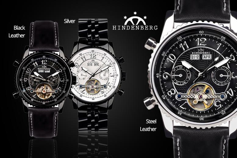 Men's Hindenberg 'Black Edition' 230-H Automatic Watch - 3 Designs!