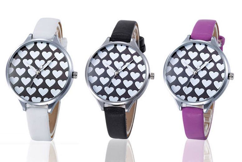 Leather Look Heart-Patterned Watch - 3 Colours!