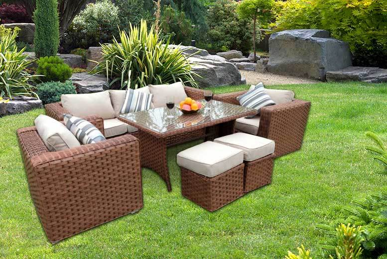 £559 instead of £1199.99 (from Dreams Outdoors) for a seven-seater rattan dining set – choose from grey, brown and black and save 53%
