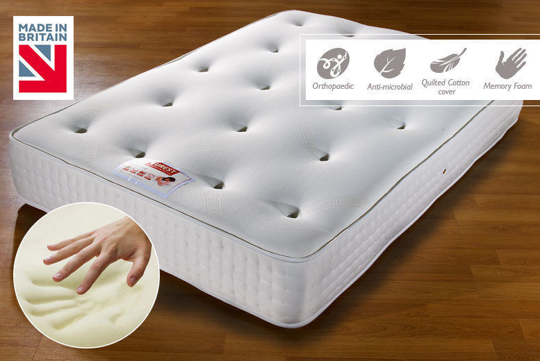 Luxury Extra-Thick Bonnell Spring Memory Foam Mattress - 4 Sizes!