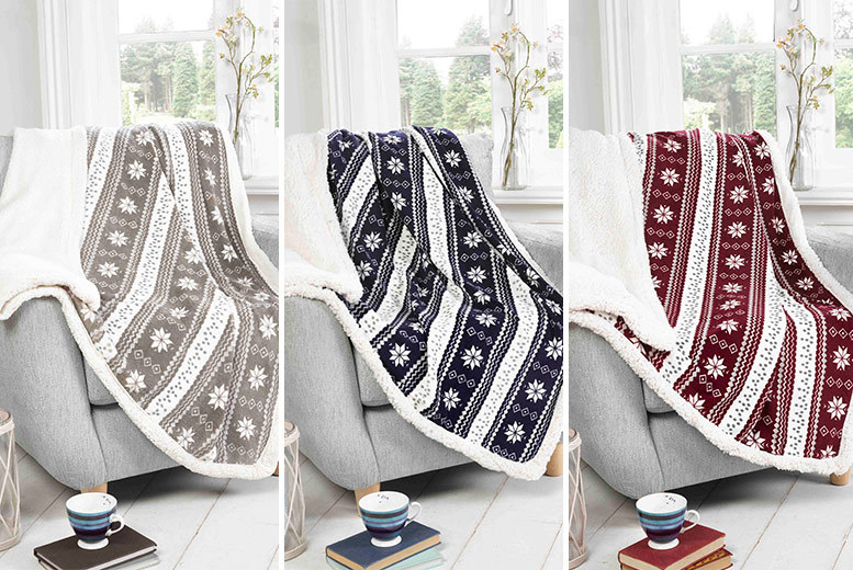 Patterned Sherpa Fleece Throw- 2 Designs!