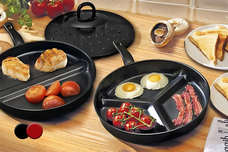 £9.99 instead of £39.99 (from Groundlevel) for a three-piece non-stick divider frying pan set - choose black or red save 75%