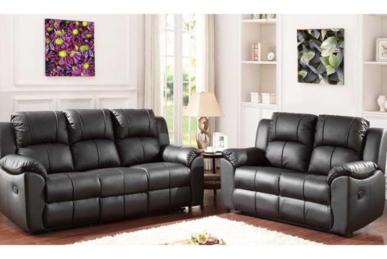 £649 instead of £1469.01 (from Sit Down Sooner) for a leather reclining sofa set - choose black or brown and save 57%