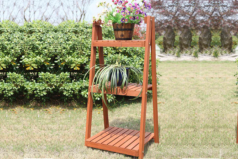 3-Tier Vintage Style Wooden Ladder Display Stand