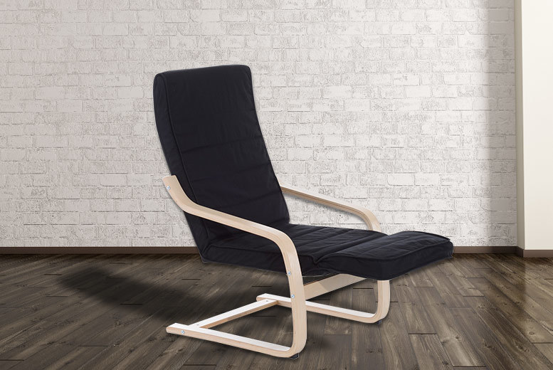 Wooden Recliner Chair with Adjustable Footrest