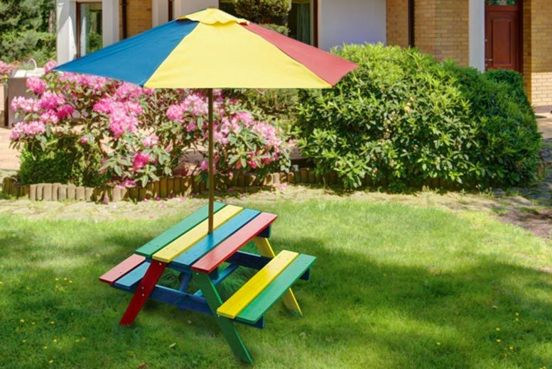 Children's Rainbow Picnic Bench & Parasol