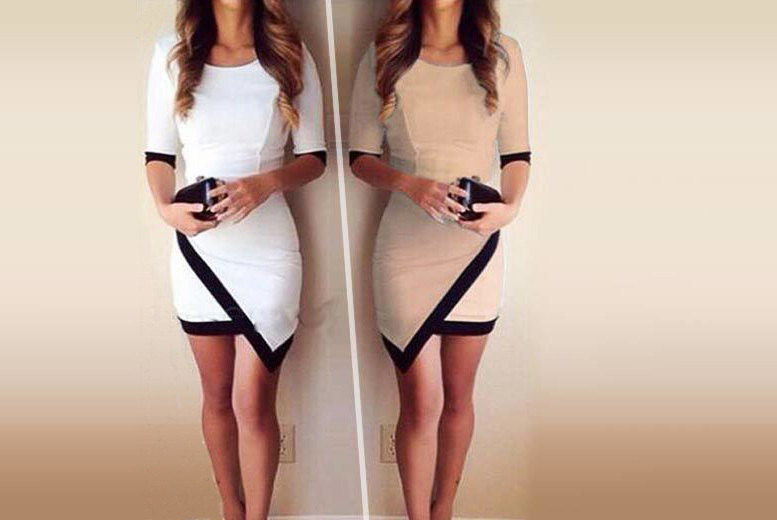 Asymmetric Bodycon Dress – Two Colours & UK Sizes 6-16! for £9.00