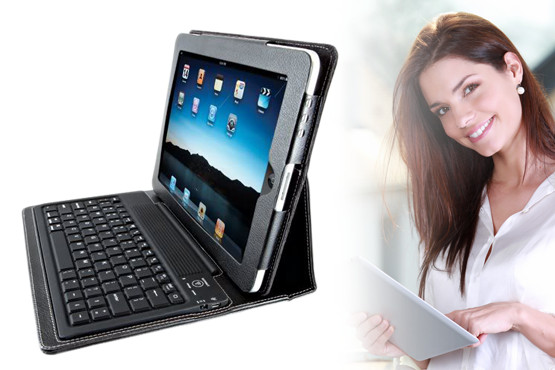 £19.99 instead of £49.99 for a faux leather iPad 3 case stand with Bluetooth keyboard, from Blue Bud – do more with your iPad & save 60%