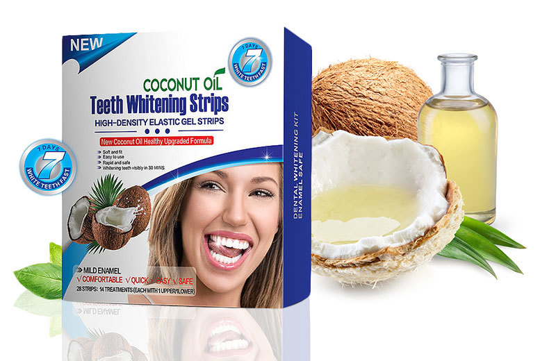 1 or 2 Boxes of Natural Coconut Oil Teeth Whitening Strips from £7.00