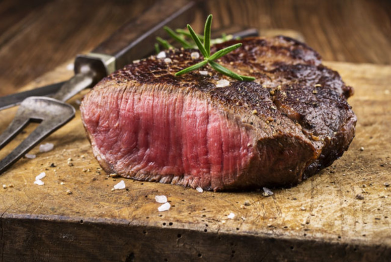 £19 instead of £51.85 for a steak dinner for two with a glass of Champagne each and olives, or £36 for four people from Aberdeen Steak House, Brighton - save up to 63%