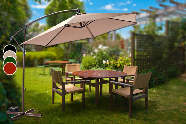 £49 instead of £141.99 for a large banana parasol in a choice of black, terracotta, green and cream - save 65%