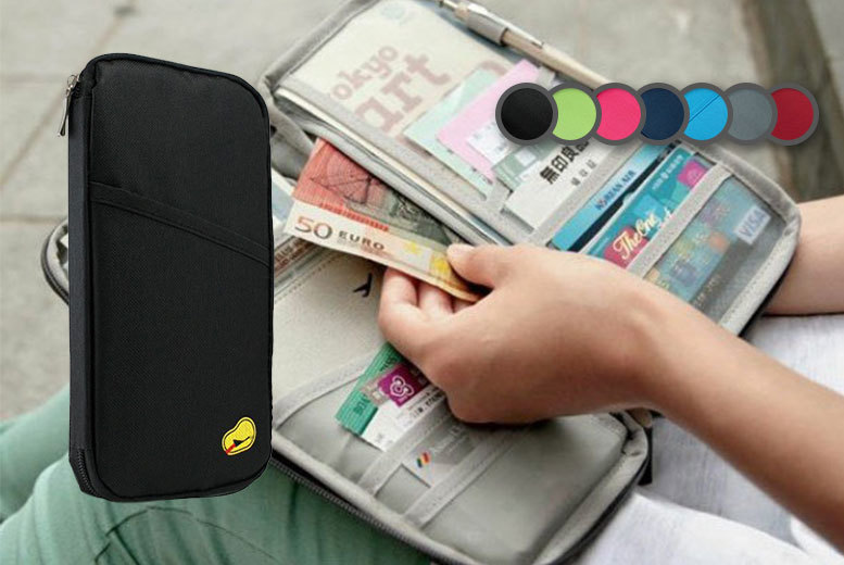 £2.99 instead of £29.99 for a passport and document travel organiser - choose from seven colours and save 90%