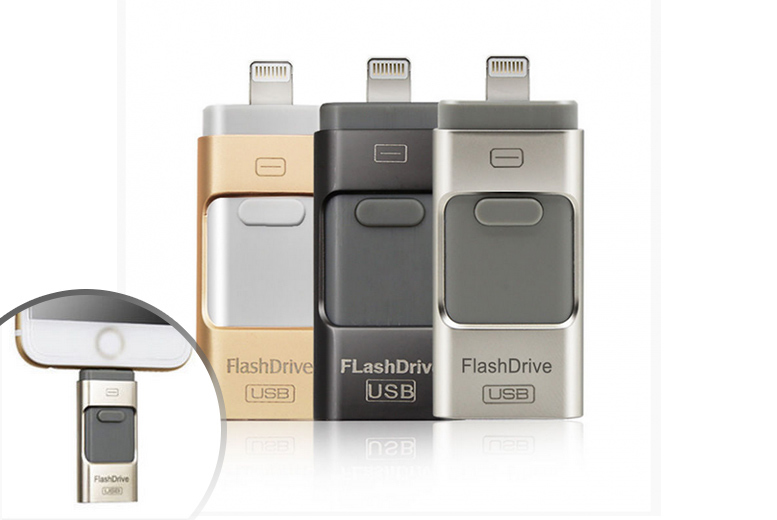 £12 instead of £55 for a 16gb iFlash drive for iPhone or iPad, £15 for a 32gb, or £24 for a 64gb drive - choose from three colours and save up to 78%