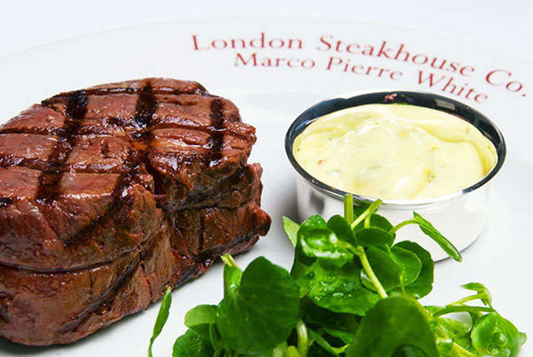 £49 instead of up to £98.50 for three-course dining for two people including a cocktail each at Marco Pierre White's London Steakhouse Co., City - save up to 50%